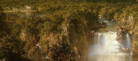 Waterfall and geologic formations (detail), Frederic Edwin Church, Heart of the Andes, 1859, oil on canvas, 168 x 302.9 cm (The Metropolitan Museum of Art)