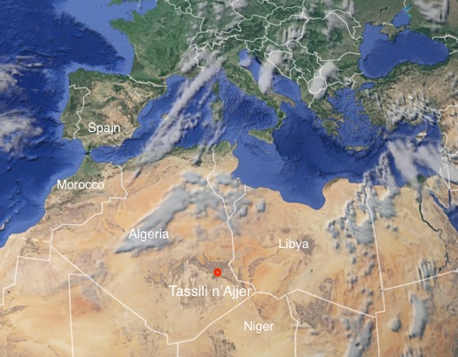 Map showing location in north Africa of Tassili N'Ajjer National Park, imagery @2015 Data SIO, NOAA, U.S. Navy, NGA, GEBCO, Landsat, IBCAO, U.S. Geological Survey, Map data @2015 Google