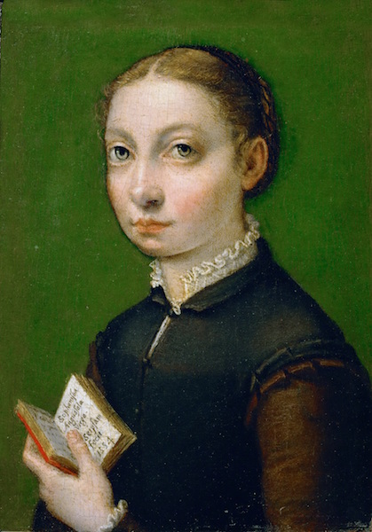 Sofonisba Anguissola, Self-Portrait, 1554, oil on poplar wood, 19.5 x 12.5 cm (Kunsthistorisches Museum, Vienna)