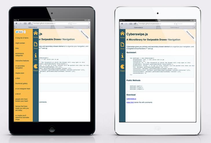 Screenshot of the CyberSwipe library on an iPad