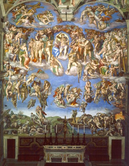 Michelangelo Last Judgment Sistine Chapel Altar Wall Fresco 1534