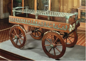 Bronze bed and carriage, Regolini-Galassi Tomb, (c. 650 B.C.E.), Cerveteri (Vatican Museums)