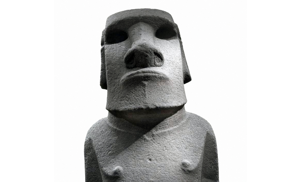 Bust (detail), Hoa Hakananai'a ('lost or stolen friend'), Moai (ancestor figure), c. 1200 C.E., 242 x 96 x 47 cm, basalt (missing paint, coral eye sockets, and stone eyes), likely made in Rano Kao, Easter Island (Rapa Nui), found in the ceremonial center Orongo© The Trustees of the British Museum