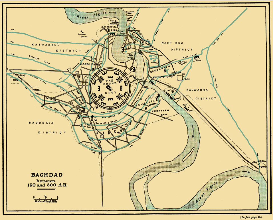 A map of the city of Baghdad. The city center is round with the river Tigris running through the outskirts on the eastern side of the city.
