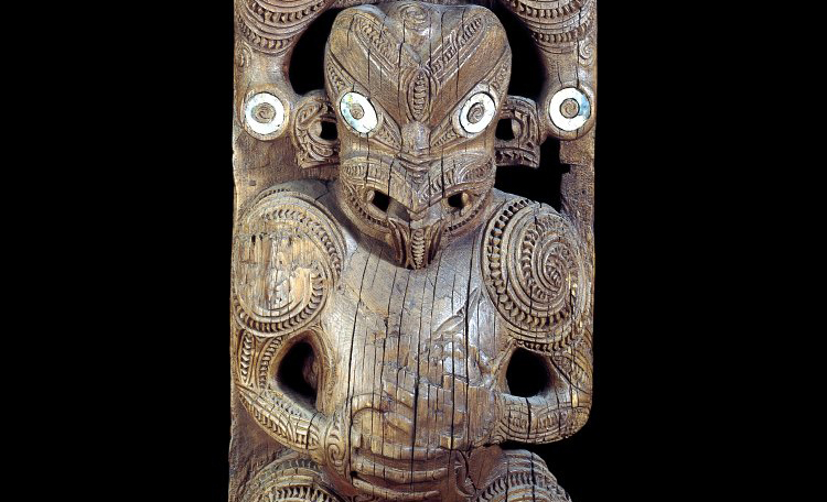 Lower figure (detail), House-board (amo), Maori, 1830-60 C.E., wood, haliotis shell, 152 x 43 x 15 cm, Poverty Bay district, New Zealand, Polynesia © Trustees of the British Museum