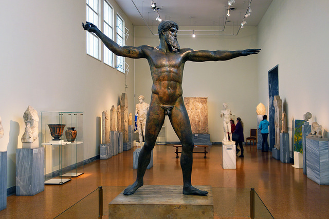 Artemision Zeus or Poseidon, c. 460 B.C.E., bronze, 2.09 m high, Early Classical (Severe Style), recovered from a shipwreck off Cape Artemision, Greece in 1928 (National Archaeological Museum, Athens), photo: Steven Zucker (CC BY-NC-SA 2.0)