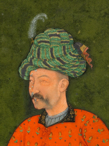 Shah 'Abbas head (detail), attributed to Bishn Das, Portrait of Shah ʿAbbas I of Persia, single-page painting mounted on a detached album folio, gouache on paper, c. 1613-19, 18.1 x 9 cm, © The Trustees of the British Museum