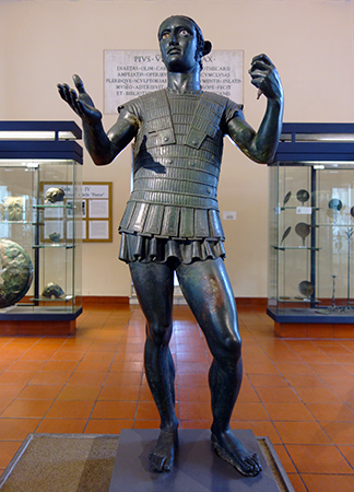 Mars of Todi, late 5th century or early 4th century B.C.E., hollow-cast bronze, 141 cm high (Gregorian Etruscan Museum, Vatican Museums)