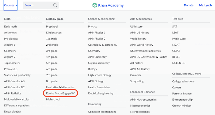 On-grade Support And Eureka Math / EngageNY (article) Khan Academy
