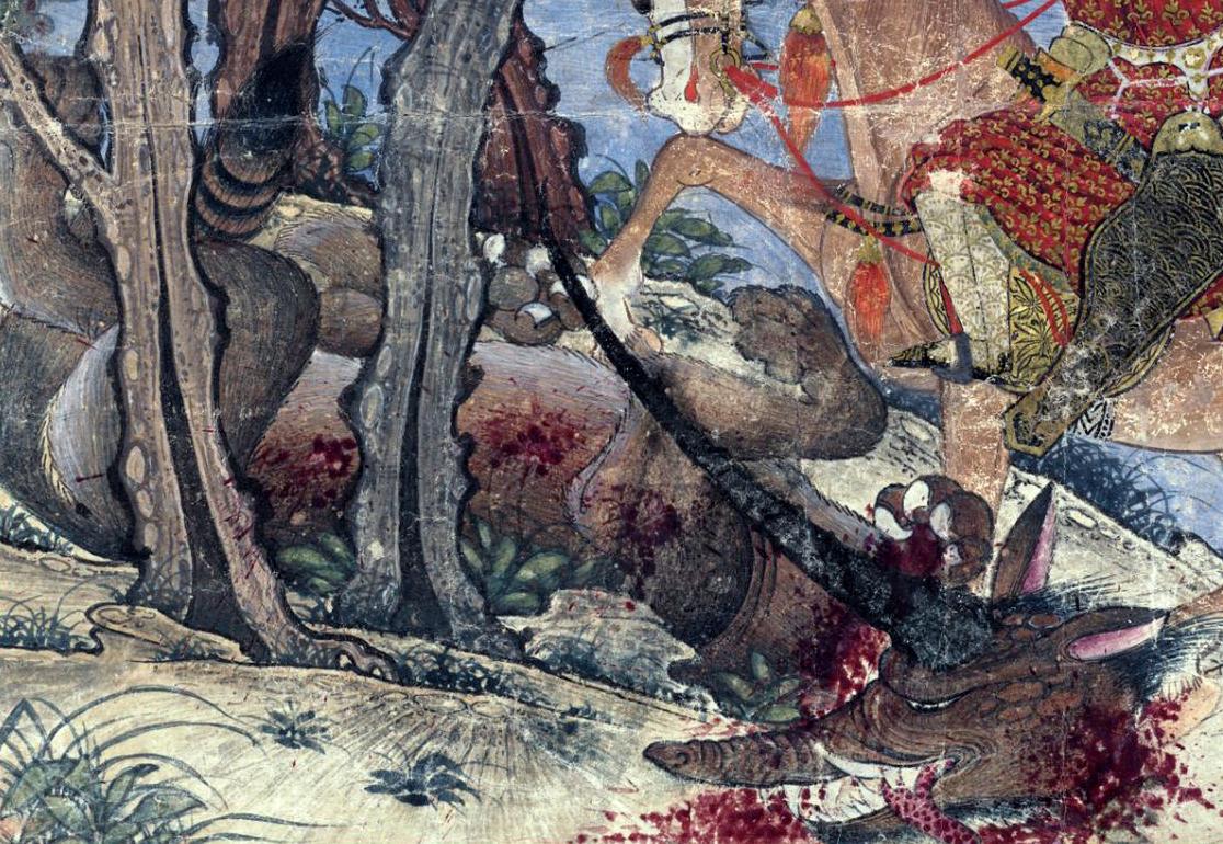 Bahram Gur Fights the Karg (Horned Wolf) (article) | Khan