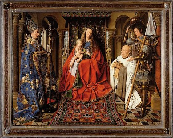 Jan van Eyck, The Virgin and Child with Canon van der Paele, oil on wood, 141 x 176.5 cm (including frame), 1434-36 (Groeningemuseum, Bruges)
