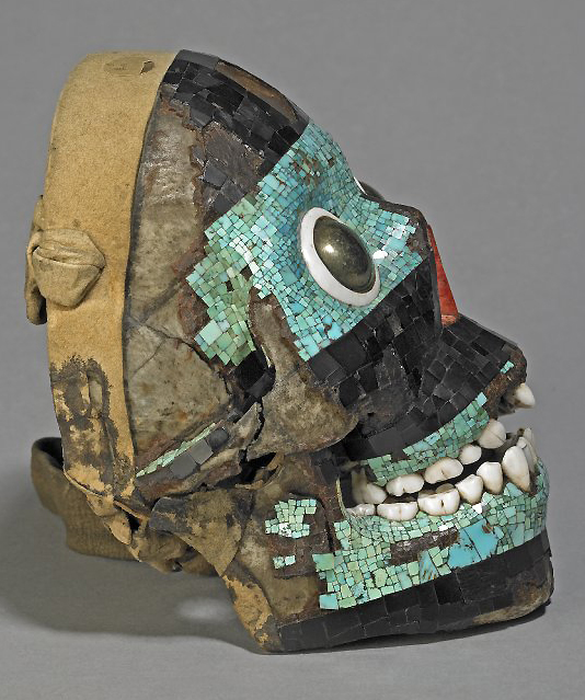 Mosaic skull of Tezcatlipoca (view of right side), c. 15th-16th century C.E., Mixtec/Aztec, turquoise, pyrite, pine, lignite, human bone, deer skin, conch shell, agave, 19 x 13.9 x 12.2 © The Trustees of the British Museum