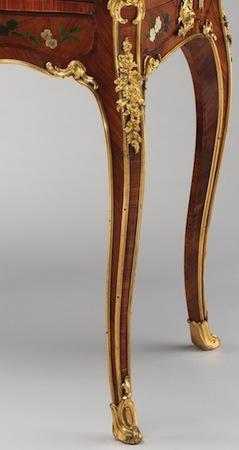 Bernard II van Risenburgh, Writing table (Table à écrire), c. 1755, oak veneered with tulipwood, kingwood, amaranth, mahogany, ebony, mother-of-pearl, stained horn; gilt-bronze mounts and modern velvet, 78.1 x 96.5 x 57.5 cm (The Metropolitan Museum of Art)
