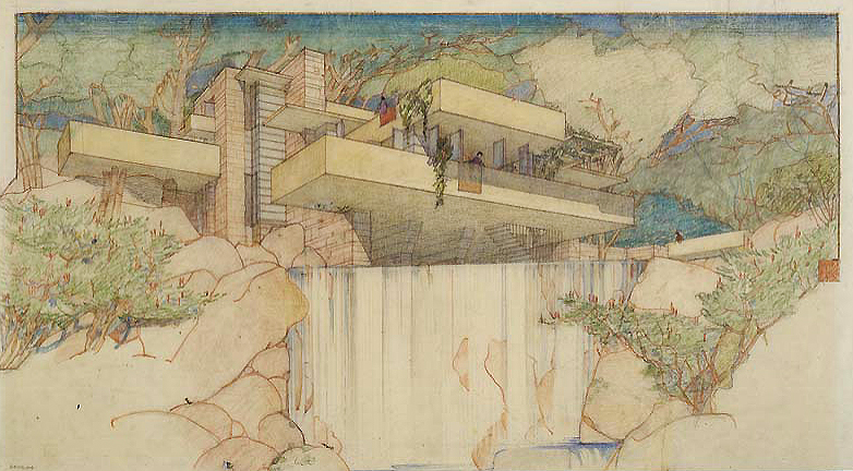 Frank Lloyd Wright, Fallingwater (Edgar J. Kaufmann House), Mill Run, Pennsylvania, 1935, Color pencil on tracing paper, 15-3/8 x 27-1/4 inches, , © The Frank Lloyd Wright Foundation
