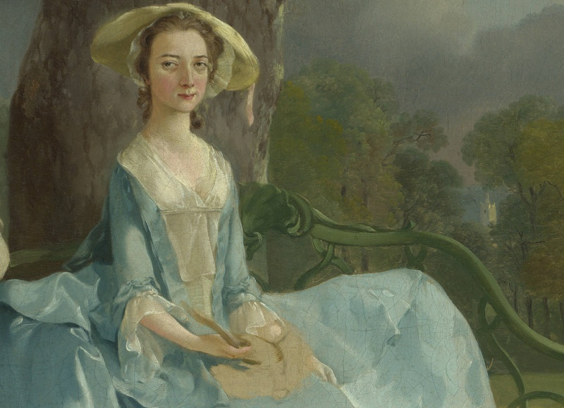 Mrs. Andrews (detail), Thomas Gainsborough, Mr. and Mrs. Andrews, c. 1750, oil on canvas, 69.8 x 119.4 cm (The National Gallery, London)