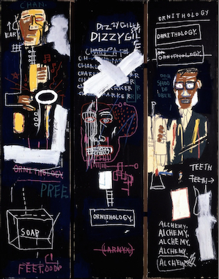 Jean-Michel Basquiat, Horn Players, 1983, acrylic and oilstick on three canvas panels mounted on wood supports, 243.8 x 190.5 cm (The Broad Art Foundation) © The Estate of Jean-Michel Basquiat ([zoomable image here](https://www.artsy.net/artwork/jean-michel-basquiat-horn-players))