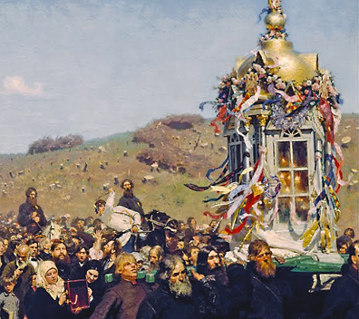 Shrine carried in procession (detail), Ilya Repin, Krestny Khod (Religious Procession) in Kursk Gubernia, 1880-83, oil on canvas, 175 x 280 cm (State Tretyakov Gallery, Moscow)