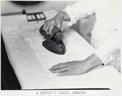 Samuel Kravitt, A Sister's Hands Ironing, c. 1931-36, photo, Hancock Shaker Village, Massachusetts (Library of Congress)