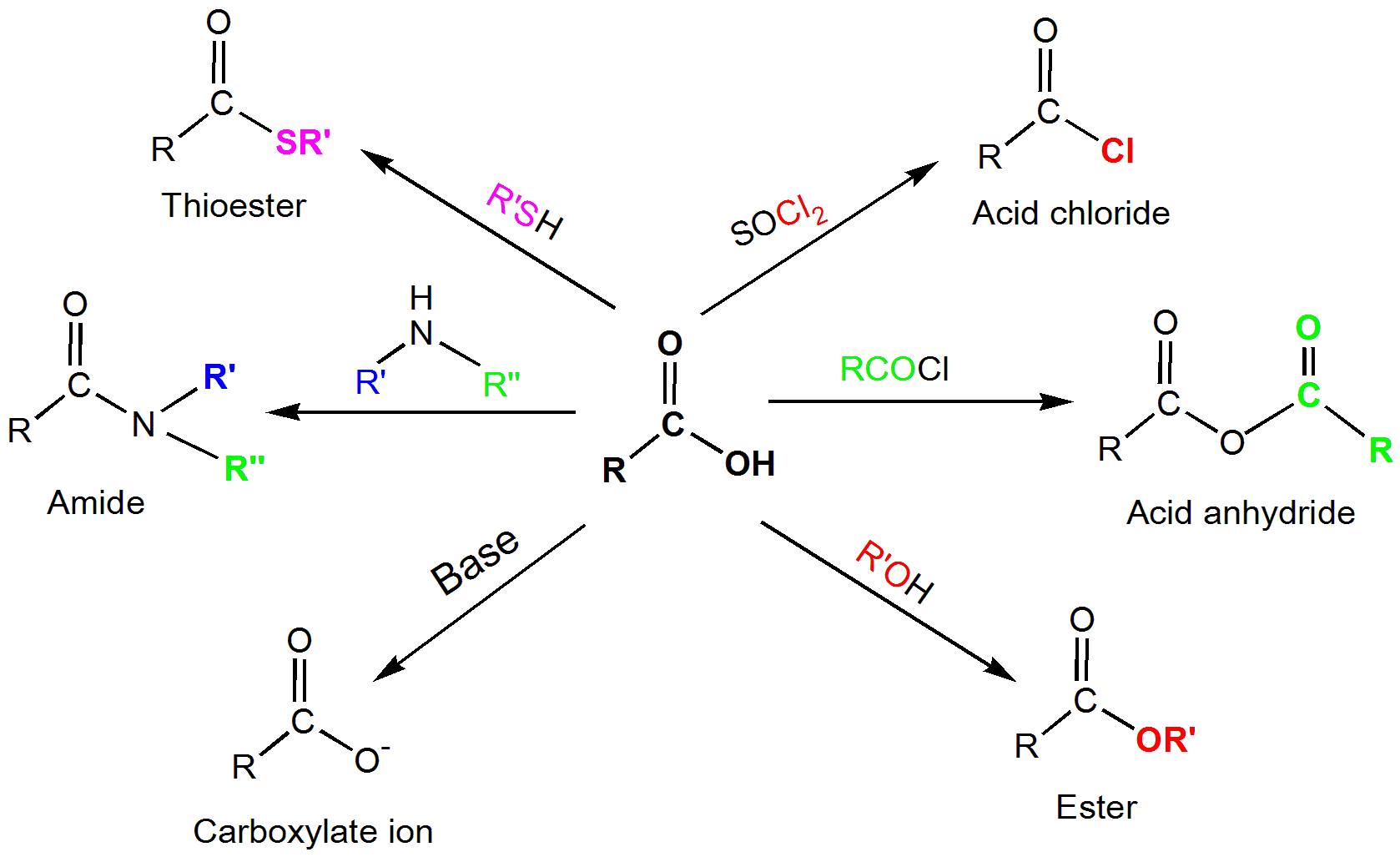 diagram overview of carboxylic molecule reactions