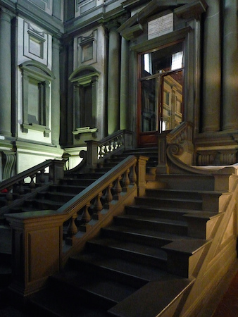 Stairs from left, Michelangelo, Laurentian Library (vestibule and reading room), begun 1524, opened 1571, San Lorenzo, Florence