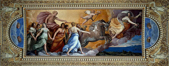 Guido Reni, Aurora, 1613-14, ceiling fresco (Casino dell'Aurora, Rome)