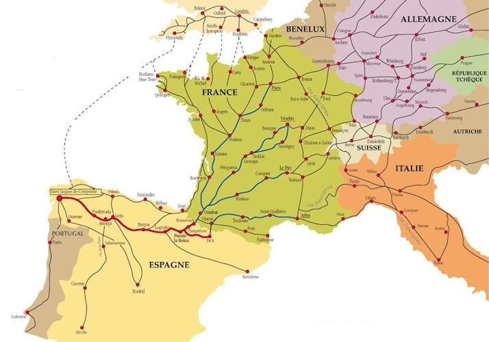 Map of pilgrimage routes