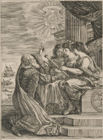 Frontispiece for the Opere di Galileo Galilei, 1656, etching, 17.8 x 24.9 (The Museum of Fine Arts, Houston). Galileo is shown kneeling before personifications of mathematics (holding compass), astronomy (with the crown of stars) and optics.