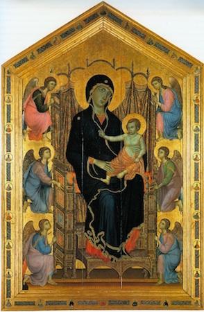 """Duccio di Buoninsegna, The Rucellai Madonna, 1285-86, tempera on panel, 177 x 114"""" or 450 x 290 cm (Uffizi, Florence)"""