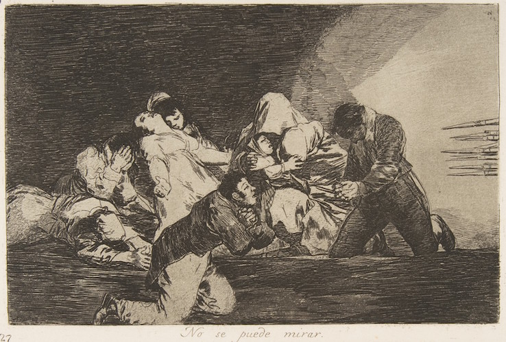 Goya, plate 26 from 'The Disasters of War' (Los Desastres de la Guerra): 'One can't look.' (No se puede mirar.), 1810-20, etching, burnished lavish, drypoint and burin, plate: 14.5 x 21 cm (The Metropolitan Museum of Art