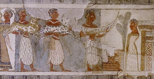 Hagia Triada sarcophagus detail c 1400 BCE limestone and fresco Archaeological Museum of Heraklion photo Olaf Tausch CC BY 30
