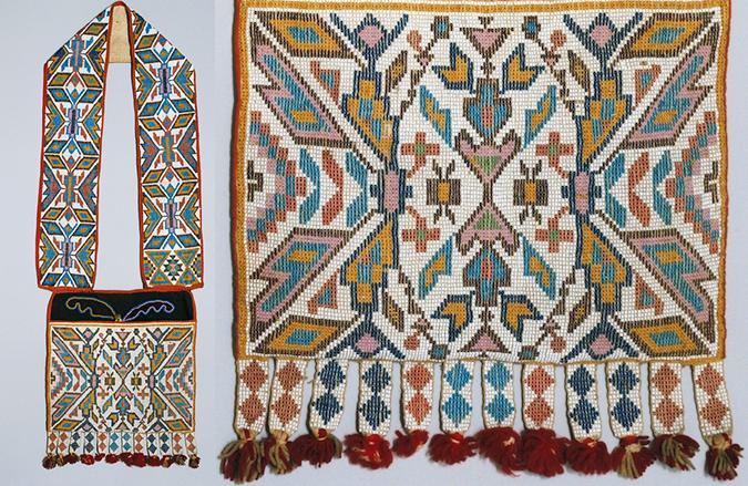 Bandolier Bag, 1880s, Winnebago (?), wool and cotton trade cloth, wool yarn, glass, metal, 34 1/2 x 12 inches / 87.6 x 30.5 cm (The Metropolitan Museum of Art)