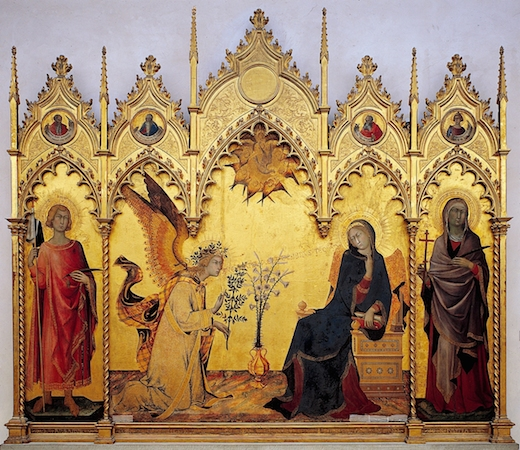 "Simone Martini, The Annunciation, 1333, tempera on panel, 72 1/2 x 82 5/8"" or 184 x 210 cm. (Uffizi, Florence)"