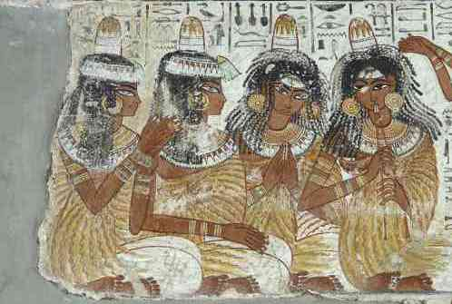 The four musicians and singers with their song written above them (detail), from the second register of the banquet scene, from the tomb of Nebanum, 1370 BCE, 18th Dynasty, paint on plaster, Thebes © The Trustees of the British Museum