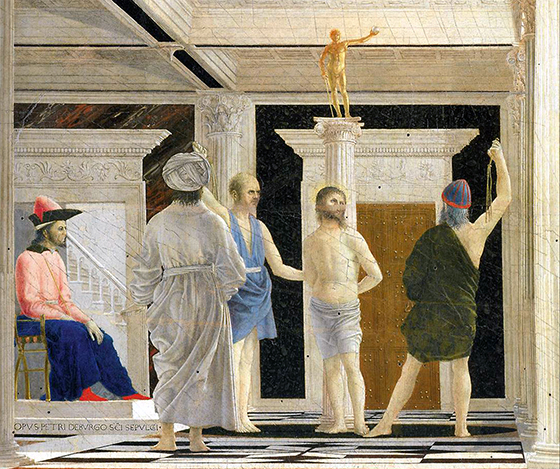 Flagellation of Christ in the background with two spectators (detail), Piero della Francesca, Flagellation of Christ, c. 1455-65, oil and tempera on wood, 58.4 × 81.5 cm (Galleria Nazionale delle Marche, Urbino)