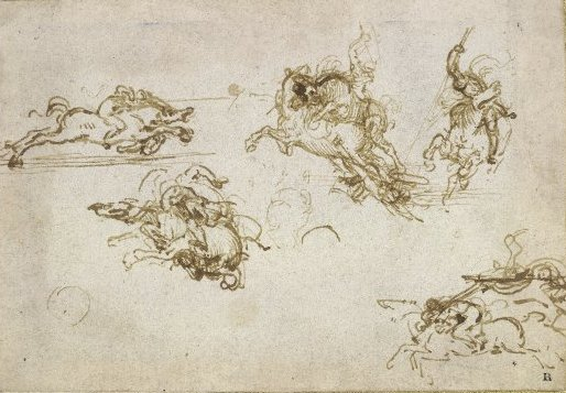 Leonardo da Vinci, Studies of horsemen for the Battle of Anghiari, pen and brown ink, c. 1503, 8.2 x 12 cm, © Trustees of the British Museum.