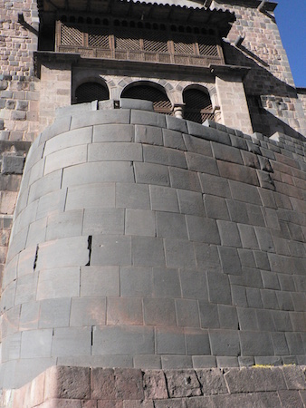 Remains of the Qorikancha, Inka masonry below Spanish colonial construction of the church and monastery of Santo Domingo, Cusco, Peru, c. 1440