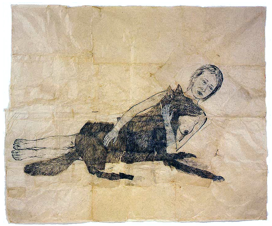 Kiki Smith, Lying with the Wolf, 2001, ink and pencil on paper 88 x 73 inches © Kiki Smith
