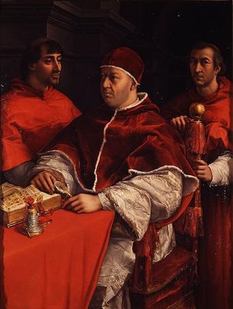Raphael, Portrait of Pope Leo X with Cardinals Giulio de'Medici and Luigi de'Rossi, oil on panel, 119.5 x 155.5 cm (Uffizi Gallery, Florence)