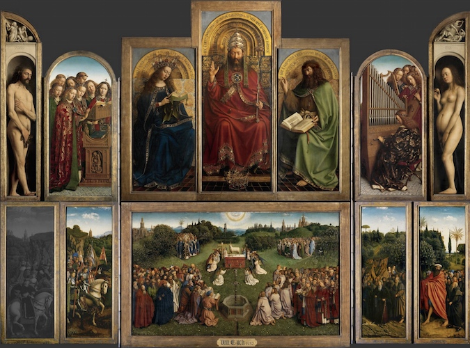 "Jan van Eyck, Ghent Altarpiece (closed), completed 1432, oil on wood, 11' 5"" x 7' 6"" (Saint Bavo Cathedral, Ghent, Belgium)"