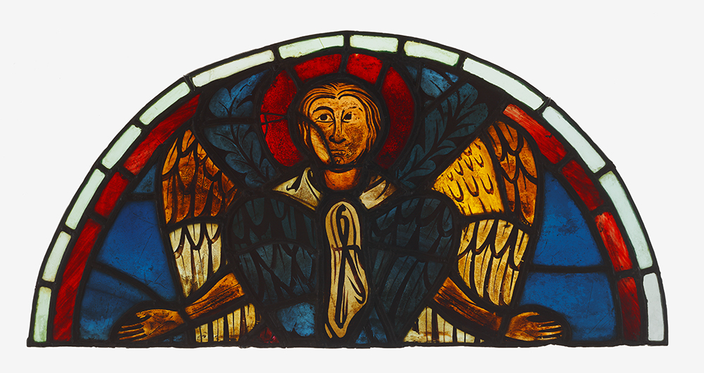 Seraph, unknown French glass painter, working at Reims Cathedral, c. 1275–99, pot-metal and clear glass and black vitreous paint (J. Paul Getty Museum, 2003.28)