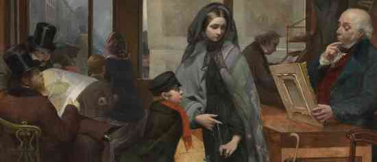 """Men surrounding the woman in the print seller shop (detail), Emily Mary Osborn, Nameless and Friendless, """"The rich man's wealth is his strong city: the destruction of the poor is their poverty"""" (Proverbs: 10:15), 1857, oil on canvas, 82 x 104cm (Tate Britain, London)"""