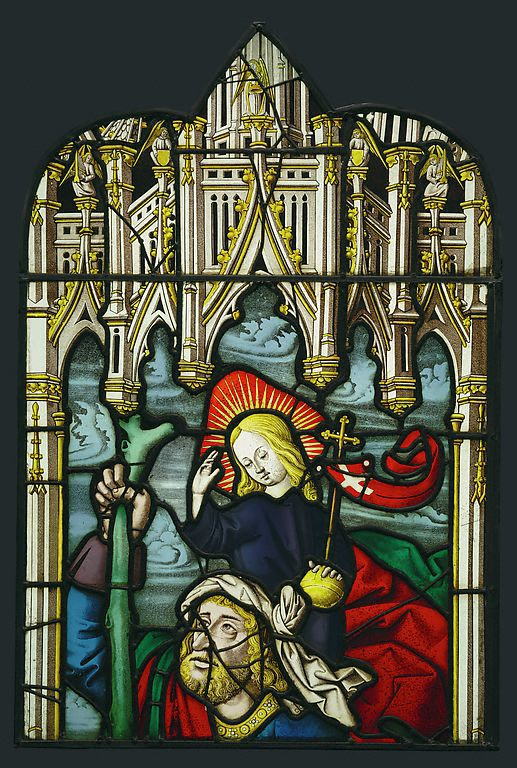 Saint Christopher and a Donor (detail with Christ Child), unknown French glass painter, from Lorraine or Burgundy, c. 1500–1510, pot-metal, clear, and flashed glass, black vitreous paint, and silver stain  (J. Paul Getty Museum, 2003.53.2)