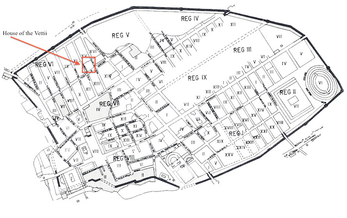 Plan of Pompeii, with location of the House of the Vettii