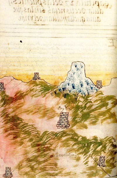 Ushnus in the landscape, Codex Murua 79v. Courtesy Sean Galvin.© Trustees of the British MuseumThe Codex Murua was produced after the Spanish conquest of the Inca Empire but its scenes of life, landscape and ritual were very likely to have been drawn by an Inca working to give the colonists an understanding of how his people lived.