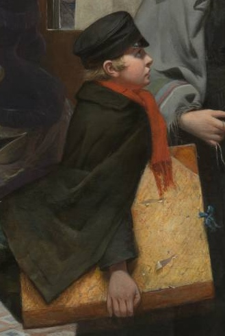 """Young boy looking up at woman with expectation (detail), Emily Mary Osborn, Nameless and Friendless, """"The rich man's wealth is his strong city: the destruction of the poor is their poverty"""" (Proverbs: 10:15), 1857, oil on canvas, 82 x 104 cm (Tate Britain, London)"""