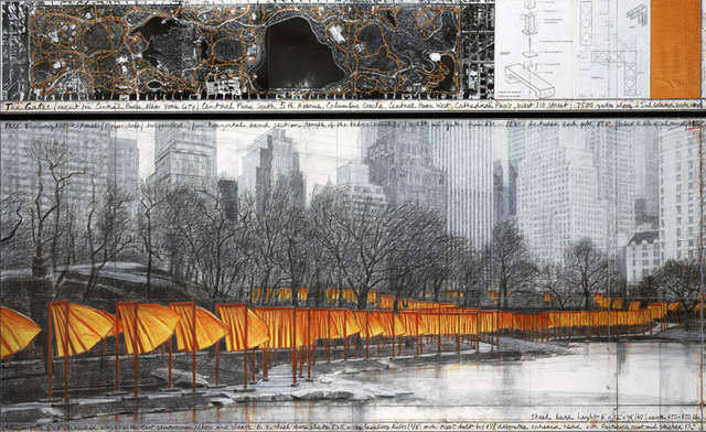 Christo, The Gates (Project for Central Park, New York City) drawing 2003 in two parts, 38 x 244 cm and 106.6 x 244 cm, pencil, charcoal, pastel, wax crayon, fabric sample, aerial photograph (Whitney Museum of American Art) © 2003 Christo