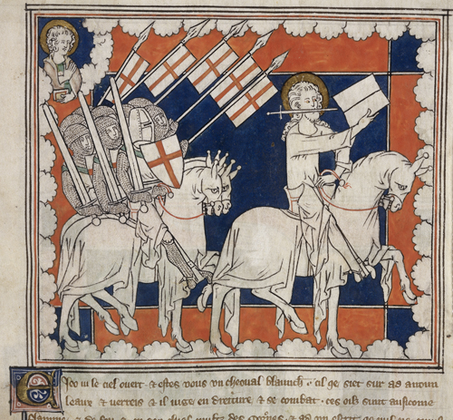 "Christ leading crusaders into battle, detail from an Apocalypse, with commentary (The ""Queen Mary Apocalypse""), early 14th century, f. 37 (British Library)"