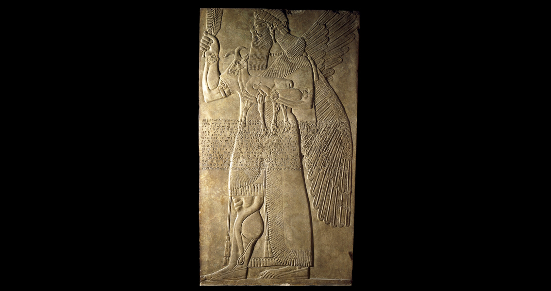 Protective spirit, Stone relief from the North-West Palace of Ashurnasirpal II, Nimrud (ancient Kalhu), northern Iraq, Neo-Assyrian, 883-859 B.C.E., alabaster, 224 x 127 x 12 cm (extant) © Trustees of the British MuseumOne of a pair which guarded an entrance into the private apartments of Ashurnasirpal II. The figure of a man with wings may be the supernatural creature called an apkallu in cuneiform texts. He wears a tasselled kilt and a fringed and embroidered robe. His curled moustache, long hair and beard are typical of figures of this date. Across the body runs Ashurnasirpal's 'Standard Inscription', which records some of the king's titles.