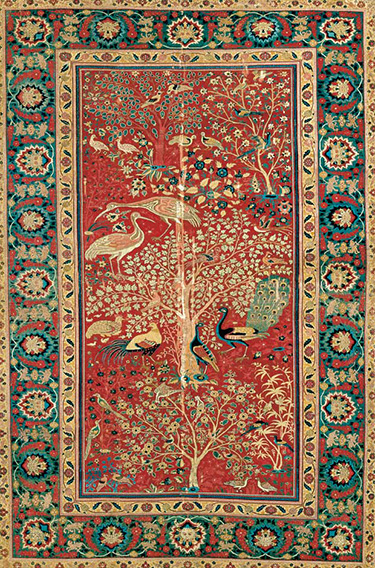 Carpet with bird couples in a landscape, Lahore, c. 1600, cotton, wool, 233 x 158 cm (The Museum of Applied Arts, Vienna)