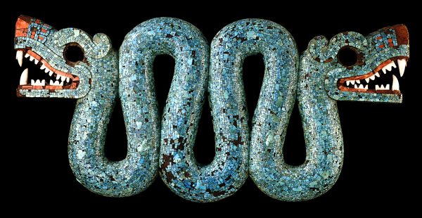 Mosaic of a double-headed serpent, c. 15th-16th century, cedrela wood, turquoise, pine resin, oyster shell, hematite, and copal, 20.5 x 43.3 x 6.5 cm © The Trustees of the British Museum